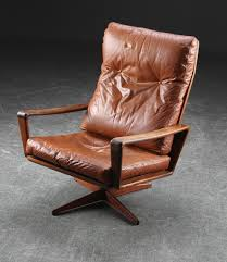 retro swivel chairs vintage mid century danish cognac leather and rio rosewood swivel