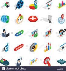 information bureau information bureau icons set isometric style stock vector