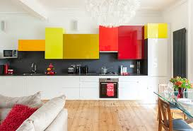 Kitchen Unit Design Colourful Wall Cabinet In Random Sizes Intriguing Kitchens