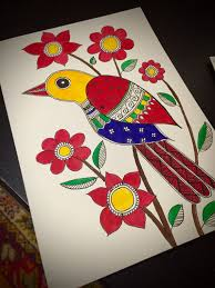 handmade madhubani bird cards indian folk by exoticmadhubaniarts