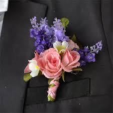 wedding flowers groom 5 pieces lot simulate lavender silk flower groom best