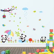 online get cheap baby panda wall art decal aliexpress com creative home decor plane wall stickers lovely panda pattern for baby kids room mural art decals