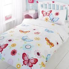 girls white bedding amazon com girls twin floral butterfly white red blue cotton