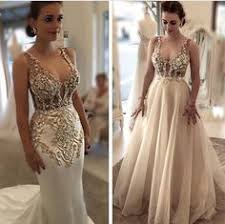 beaded wedding dresses a gold beaded gown set the stage for a glam wedding