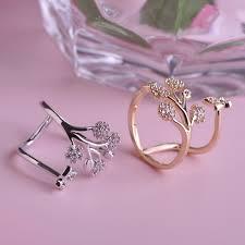 flower design rings images Blucome luxury rhinestone copper wedding rings butterfly flower jpg