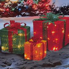 outdoor lighted gift boxes outdoor lighted christmas packages 3 piece lighted glittering