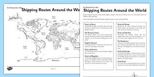 shipping routes around the world activity sheet shipping