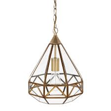 Inverted Pendant Lights by Laura Ashley Zaria Antique Brass Glass Frame Pendant Light