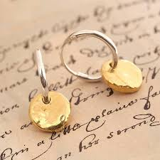 gold hoop earrings uk hoop earrings with gold vermeil disc by otis jaxon silver
