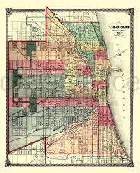 Chicago Il Map by Vintage Chicago Map Old Map 1875 Chicago Illinois Instant