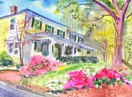 brenda behr painting of the alpha chi omega house at unc alpha