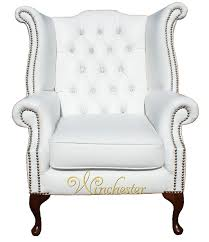 High Back Wing Armchairs Chesterfield Crystallized Swarovski Elements Queen Anne High