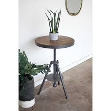 round wood and metal side table kalalou round wood and metal side table with accent modish store