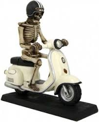 skeleton scooter bike ornament 20cm