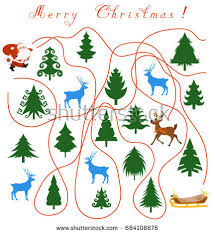maze children doodle trees deers stock vector 732382654