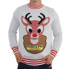 rudolph sweater sweaters mounted rudolph white with reindeer