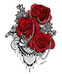 collection of 25 roses n cross on shoulder
