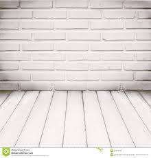 white room brick wall and wood floor for background stock photo
