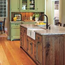 image result for farmhouse kitchen cabinets with barn red accents