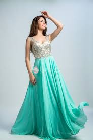 dresses for prom stunning beaded green chiffon v neck floor length a line prom