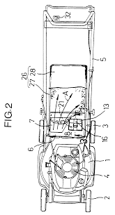 patent ep0803179b1 walking type lawn mower with battery support