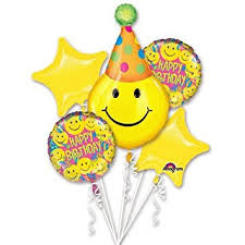 hat smiley birthday balloons happy birthday