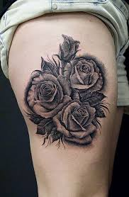grey stars pistol and red rose tattoo designs