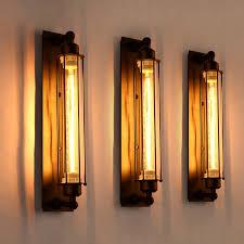 Edison Bulb Wall Sconce Vintage Country Wall Lamps 1 Light Edison Bulb E27 E26 Black