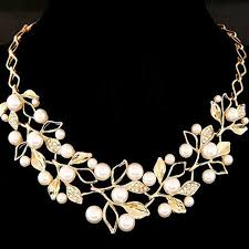personalized gifts jewelry famshin simulated pearl necklaces pendants gold leaves statement