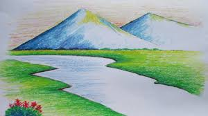 drawing landscapes for beginners cross the bridge mountain stream