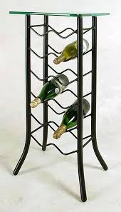 twelve bottle free standing custom made wrought iron wine rack