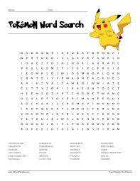 pokémon word search all free printable pinterest word search