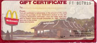mcdonalds e gift card mcdonald gift certificates pertamini co