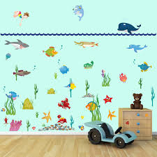 large under water sea world full colour wall stickers for kids