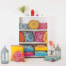Pink Round Cushion Embroidered Suzani Round Cushion Yellow From Jasmine Living Uk