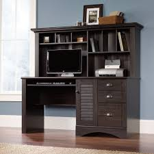 furniture cool dark brown secretary desk with hutch and grey wall