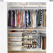 birch u0026 white elfa décor reach in clothes closet the container store