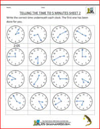 telling time sheets to 5 minutes sheet 2 http www math