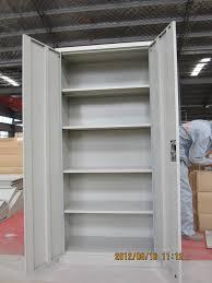 Metal Adjustable Shelving Double Door Grey Color Metal Cabinet Shelf Support 4 Adjustable