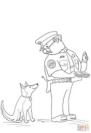 officer buckle and gloria with paper work coloring page officer
