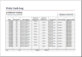 ms excel printable petty cash log template excel templates