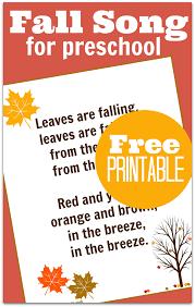 printable lyrics fall song for preschool with free printable lyrics no time for