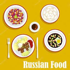 Cold Dinner Tasty Dinner Of Russian Cuisine Flat Icon U2014 Stock Vector