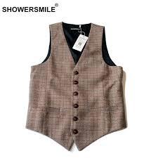 designer weste showersmile marke casual herren westen tweed gentleman beige plaid