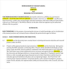 memorandum of understanding templates u2013 30 free sample example