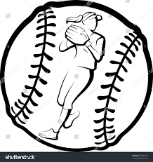 halloween softball background softball player getting ready throw ball stock vector 188654750