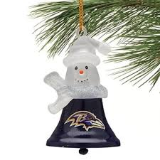 buy baltimore ravens snowman bell ornaments set of 3 in cheap