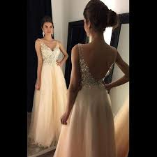 blush pink prom dress long prom dress v neck evening gown beaded
