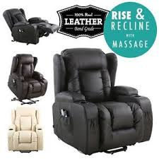 Leather Armchair Ebay Caesar Electric Rise Recliner Winged Leather Armchair Massage