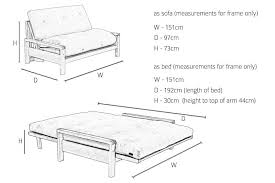Sofa Bed Dimensions 2 Seater Birch Wood Double Sofa Bed Futon Company